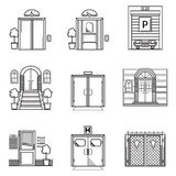 Black contour icons for door Royalty Free Stock Image