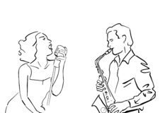 Girl singer and saxophonist. royalty free illustration