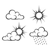 Black contours of clouds and sun. Vector illustration. Stock Images
