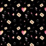 Black contrast cartoon valentine pattern. Cute cartoon valentine pattern with different elements about love including love letters, roses, glasses, notes on a Royalty Free Stock Photos