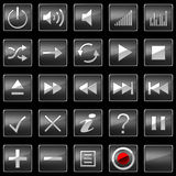 Black Control panel icons or buttons Royalty Free Stock Photos