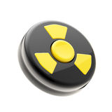 Black control panel with one yellow nuclear button. Black glossy control panel with one yellow button for nuclear attack isolated on white royalty free illustration