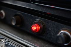 Black control panel in a Russian car royalty free stock images