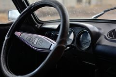 Black control panel in a Russian car royalty free stock photos