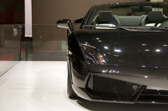 Black convertible car. Black Lamborghini Estoque. The car was presented by Lamborghini on 79th International Motor Show in Geneva stock images