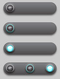 Black convex long button, off, selected and pushed Royalty Free Stock Photography