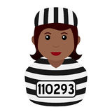 Black Convict Woman Avatar Flat Icon Royalty Free Stock Images