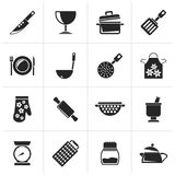 Black Cooking Equipment Icons. Vector icon set stock illustration