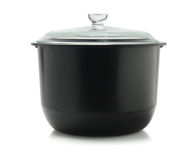 Black Cooking Pot. With Glass Lid On White Background Royalty Free Stock Photography