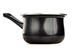 Black cooking pot isolated on white Royalty Free Stock Photo