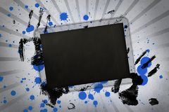 Black copy space with hand prints and paint splashes Stock Photo