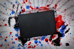 Black copy space with hand prints and paint splashes on linear pattern Stock Photos