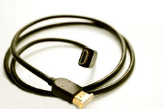 Black cord for a signal transmission Stock Photo