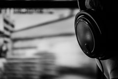 Black Corded Headphone Illustration stock photos