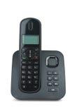 Black cordless phone. Black wireless phone isolated on the white background stock image