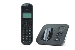 Black cordless phone handset and base unit Royalty Free Stock Images