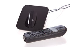 Black cordless phone isolated on white Royalty Free Stock Photo