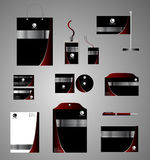 Black corporate identity template with red elements. Vector stationery set for company Royalty Free Stock Image