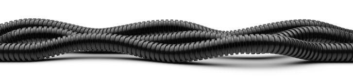 Black corrugated pipe for installation of electrical cable. Plas Royalty Free Stock Images