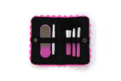 Black cosmetics bag. On a  white background Royalty Free Stock Image