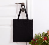 Black cotton eco tote bag, design mockup. Handmade shopping bags Stock Photography