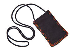 Black cotton money pocket with strap Royalty Free Stock Photo