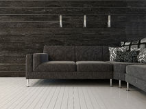 Black couch against dark wall Stock Photos