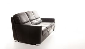 Black couch against white background Royalty Free Stock Photo