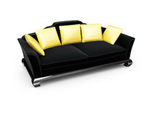Black couch with gold pillows over white Royalty Free Stock Photo