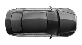 Black coupe car - top view Royalty Free Stock Photo