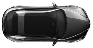 Black coupe - top view Royalty Free Stock Photo