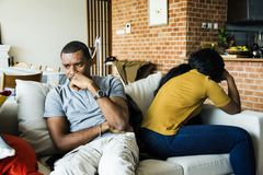 Black couple fighting and depressed royalty free stock image