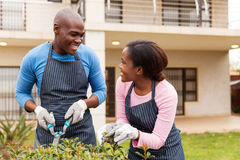 Black couple gardening. In front yard royalty free stock images