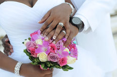 Black couple, hands and flowers Stock Photography