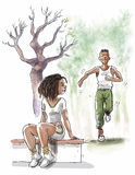 Black couple are jogging. In the park Stock Photography