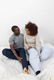 Black couple in love in the bed Royalty Free Stock Image