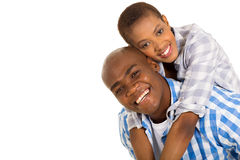 Black couple piggybacking Royalty Free Stock Photos