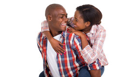 Black couple piggybacking Royalty Free Stock Photos