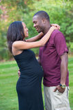 Black Couple  Pregnancy Hugging Outdoor Royalty Free Stock Image