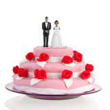 Black couple on top of wedding cake Royalty Free Stock Photos