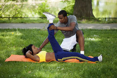 Black Couple Working Out In Park On Grass Royalty Free Stock Photo
