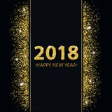 2018 New Year Golden Sand Black Cover Centre Banner. Black cover with black banner and golden sand with golden text 2018 Happy New Year Stock Photos