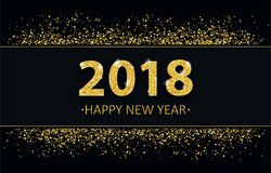 2018 New Year Golden Sand Black Cover Header. Black cover with black banner and golden sand with golden text 2018 Happy New Year Royalty Free Stock Images