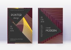 Black cover design template set. Gold abstract lin stock illustration