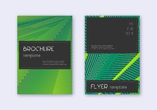 Black cover design template set. Green abstract li royalty free illustration