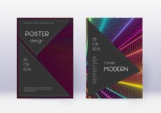 Black cover design template set. Rainbow abstract. Lines on wine red background. Adorable cover design. Mesmeric catalog, poster, book template etc stock illustration
