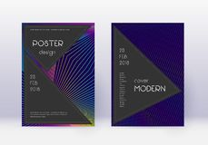 Black cover design template set. Rainbow abstract. Lines on dark blue background. Adorable cover design. Comely catalog, poster, book template etc vector illustration