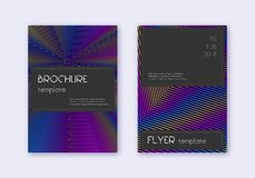 Black cover design template set. Rainbow abstract. Lines on dark blue background. Amazing cover design. Pleasant catalog, poster, book template etc royalty free illustration