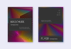 Black cover design template set. Rainbow abstract. Lines on wine red background. Adorable cover design. Majestic catalog, poster, book template etc vector illustration