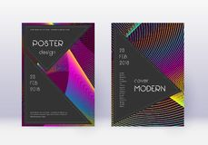 Black cover design template set. Rainbow abstract. Lines on wine red background. Adorable cover design. Ravishing catalog, poster, book template etc stock illustration